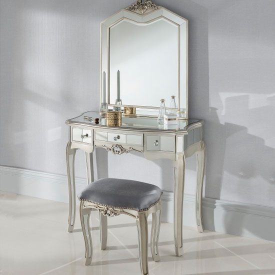 Argente Mirrored Dressing Table Set